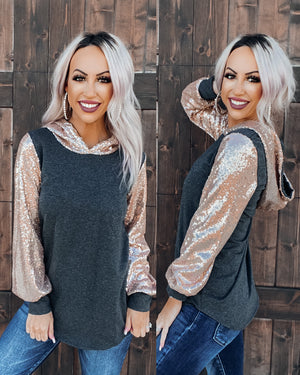 Glistening Sequin Hoodie - Charcoal/Rose Gold