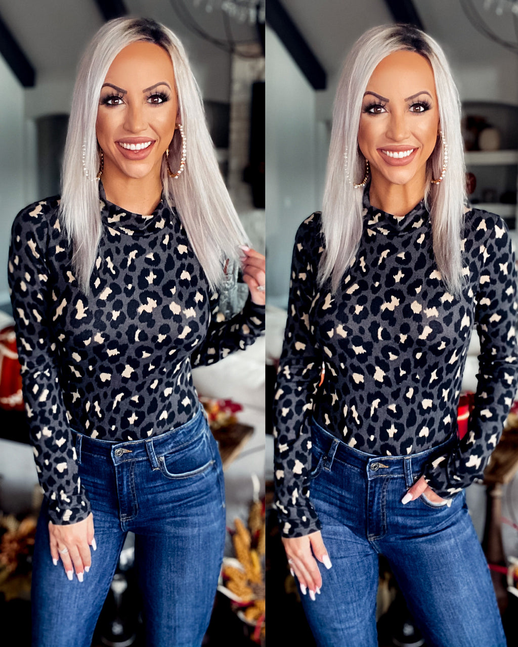 Embrace Yourself Leopard Mock Neck Bodysuit - Charcoal