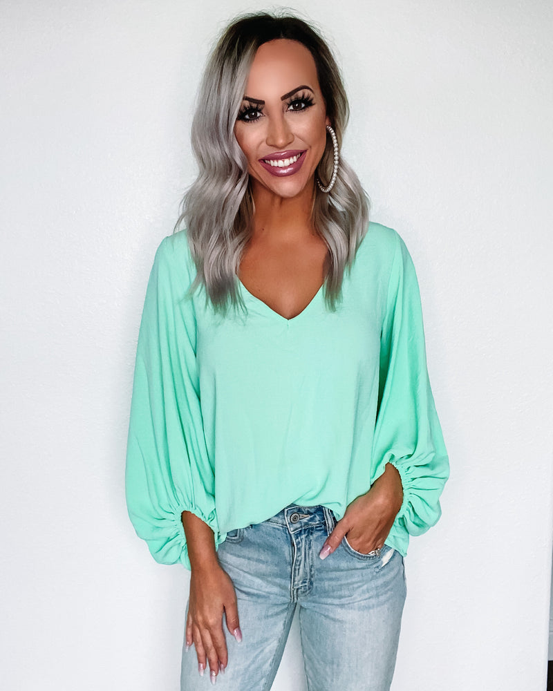 What A Girl Wants Puff Sleeve Top - Mint