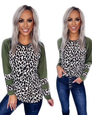 Every Occasion Leopard Raglan Top - Olive
