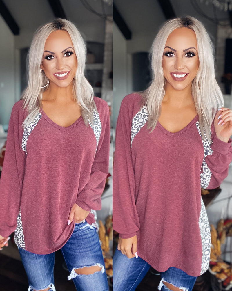 Make The Most Of It Leopard Contrast Top - Burgundy