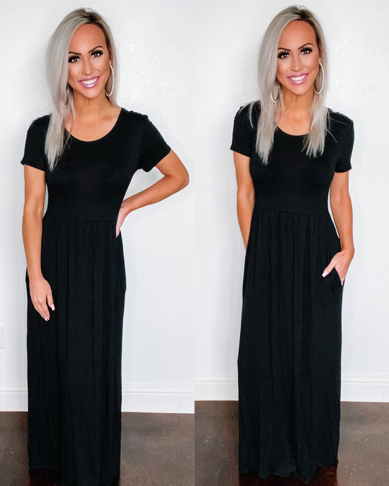 Babydoll Maxi Dress - Black {BombDEAL}