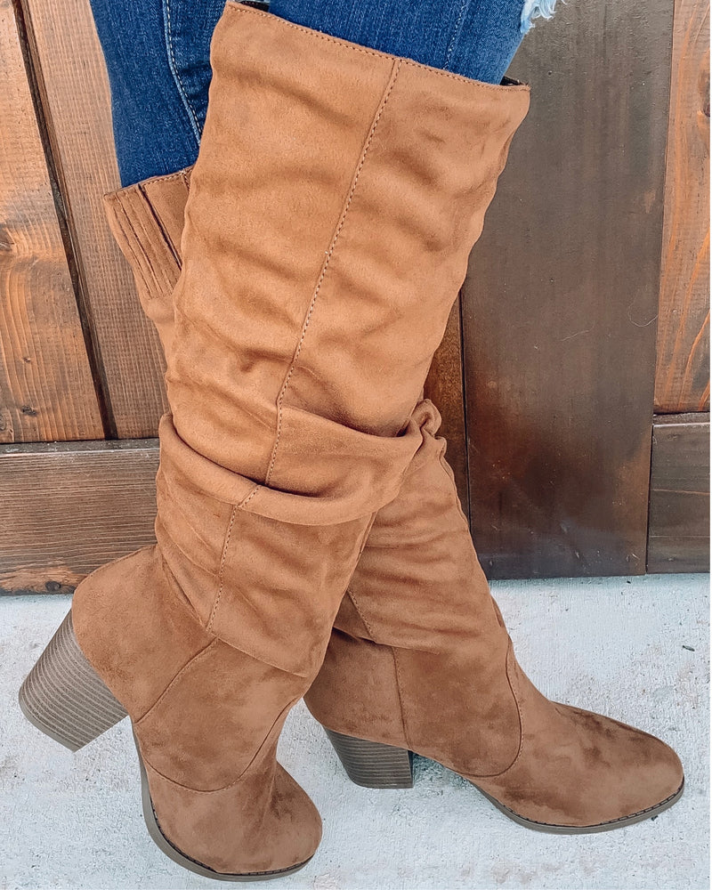 Tyson Ruched Boots - Coffee