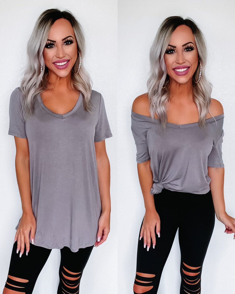 Simply Solid Vneck Top - Grey