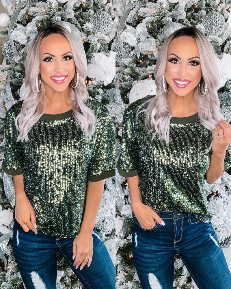 High Priority Sequin Top - Green