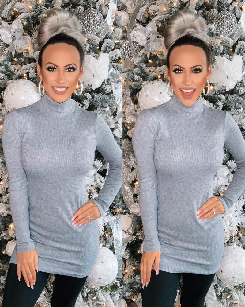 Turtle Neck Tunic/Dress - Heather Grey