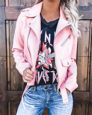 Bad Girl Biker Jacket - Pink