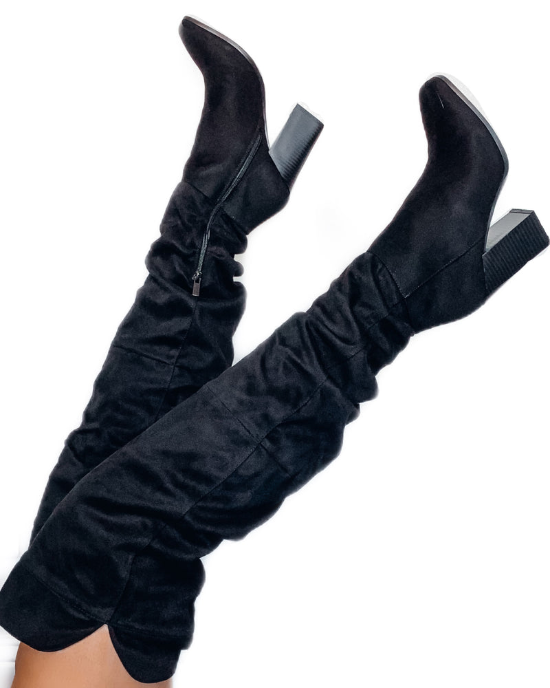 Slayde Knee High Boots - Black