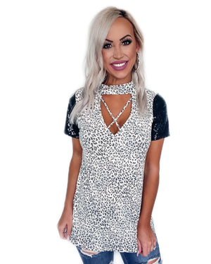 Party Never Ends Sequin Leopard Choker Top
