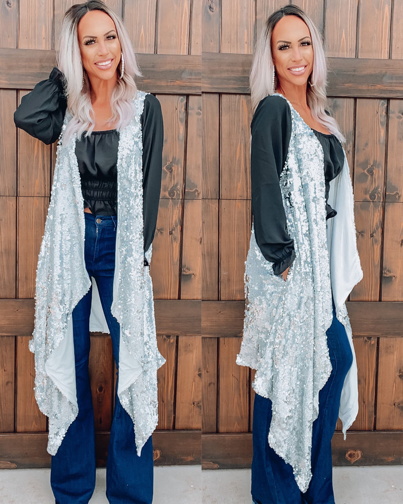 Can't Stop Won't Stop Sparkling Vest - Silver
