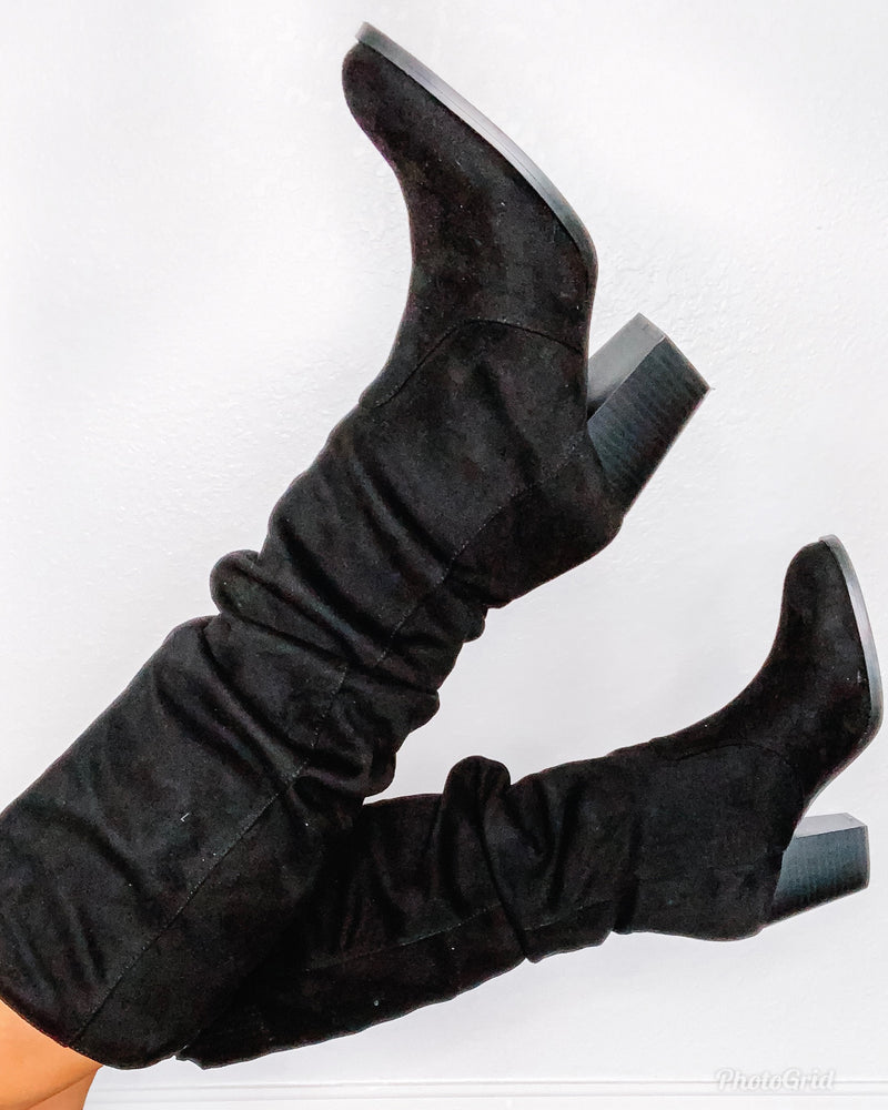 Tyson Ruched Boots - Black