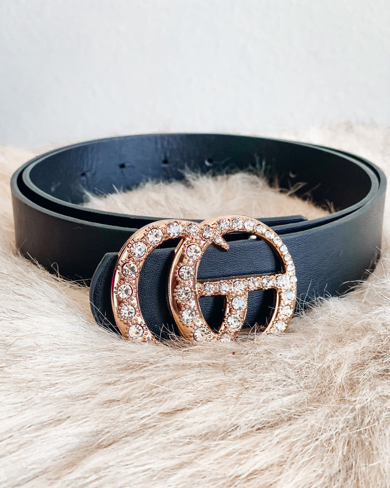 Rhinestone Gia Belt - Black