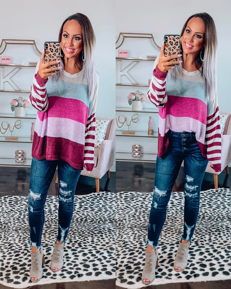 Magenta Multi Stripe Sweather