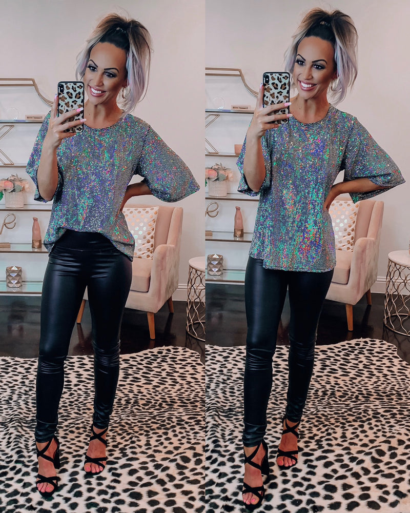 Disco Babe Sequin Top - Black