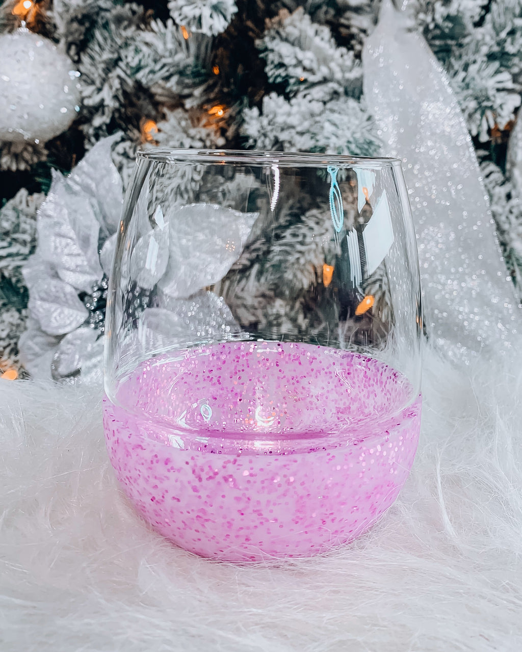 Pink Glitter Stemless Wine Glass