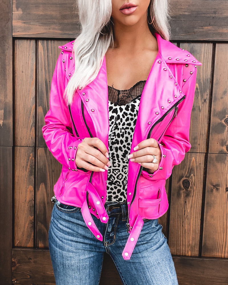 Camaro Faux Leather Jacket - Pink