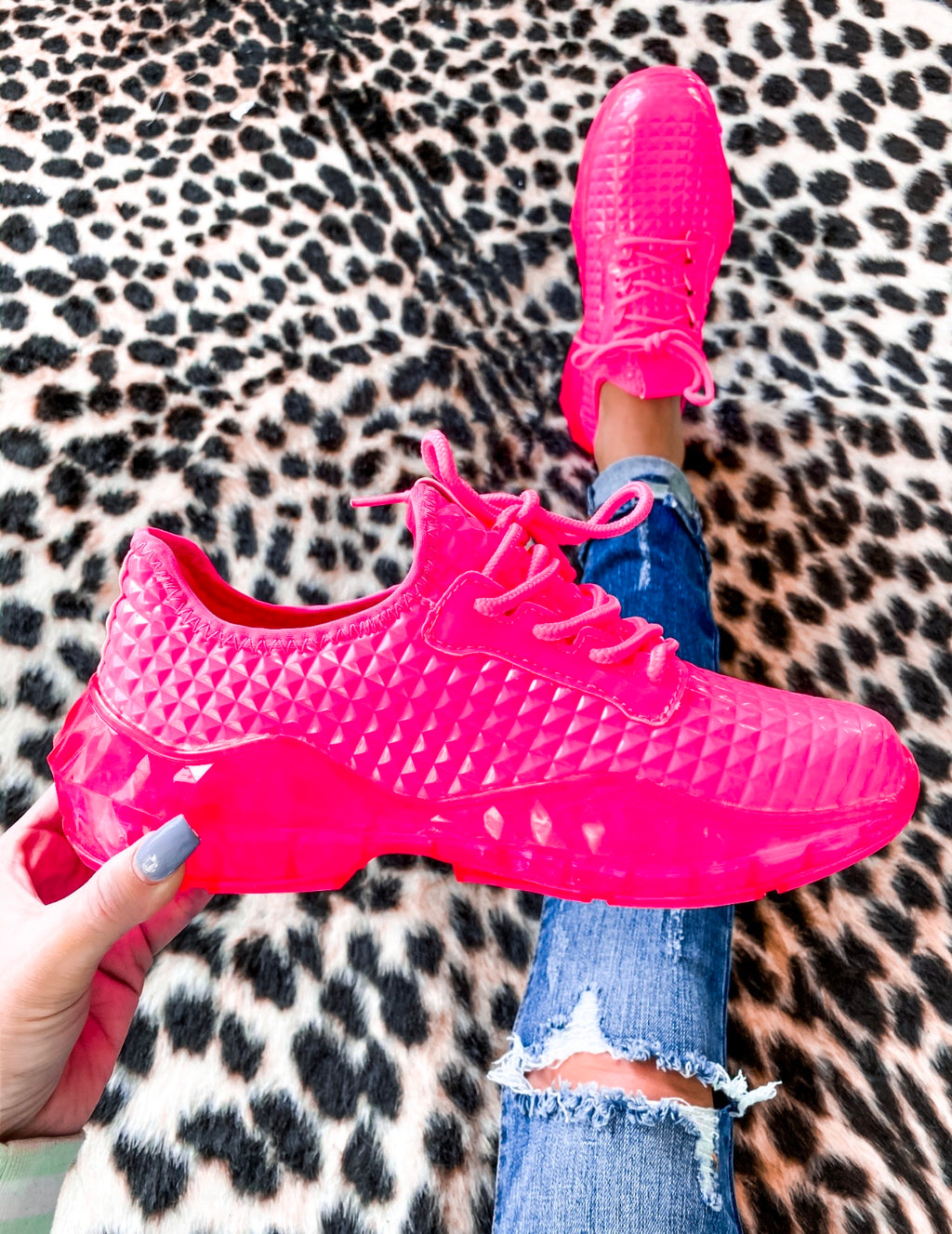 Britney Sneakers - Neon Hot Pink