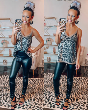 Queen of Sequins Tank - Leopard