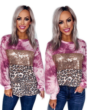 Lucky Leopard Tie Dye Sequin Top