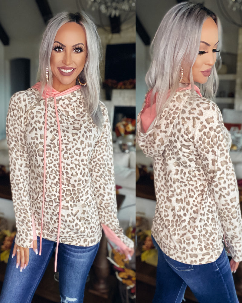 Undercover Leopard Print Double Hoodie - Mocha/Blush