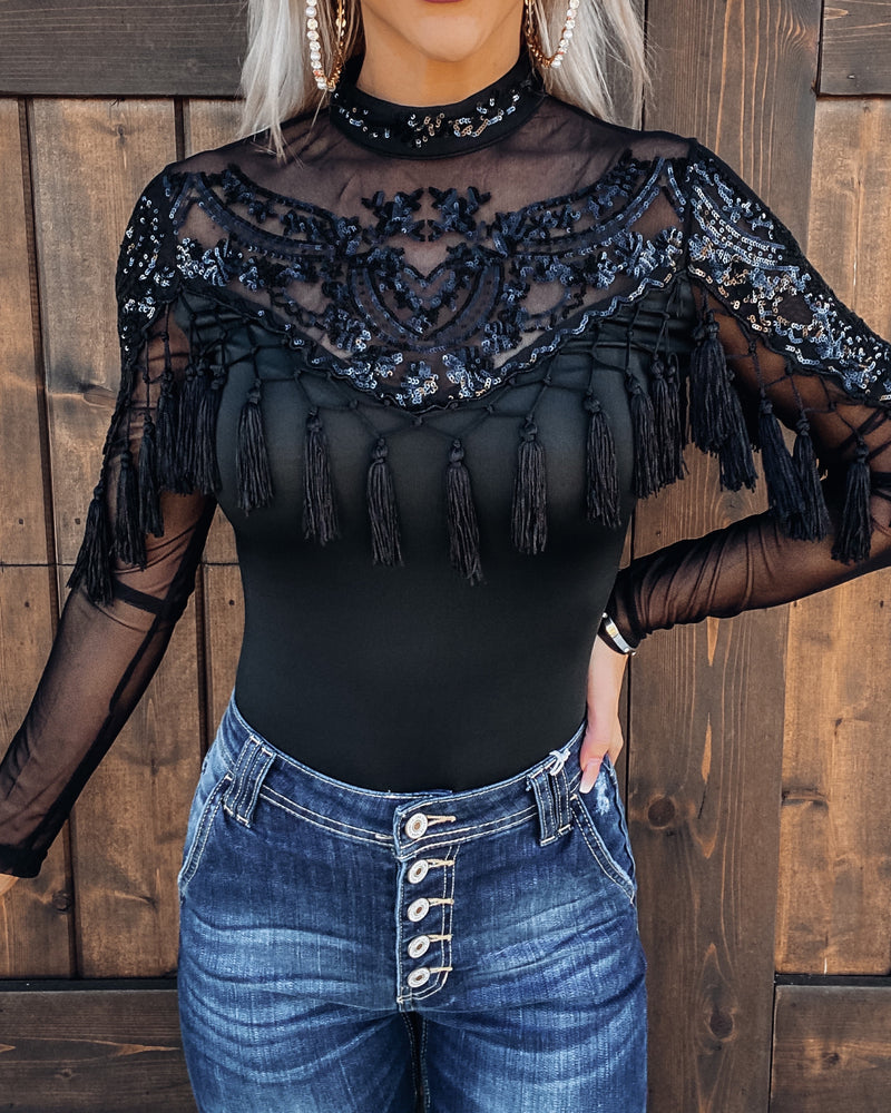 Secret Haven Sequin Tassel Bodysuit - Black