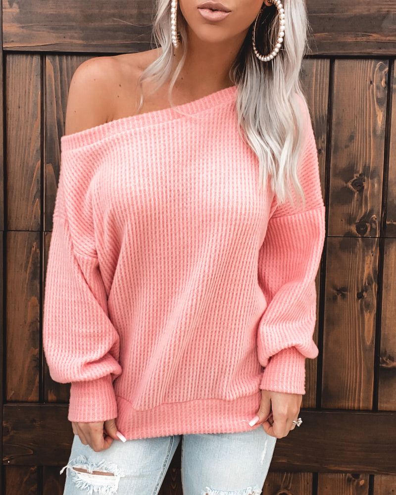 Fleece Brushed Off Shoulder Waffle Top