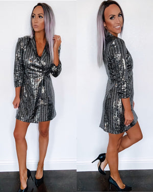She Means Business Sequin Blazer Dress