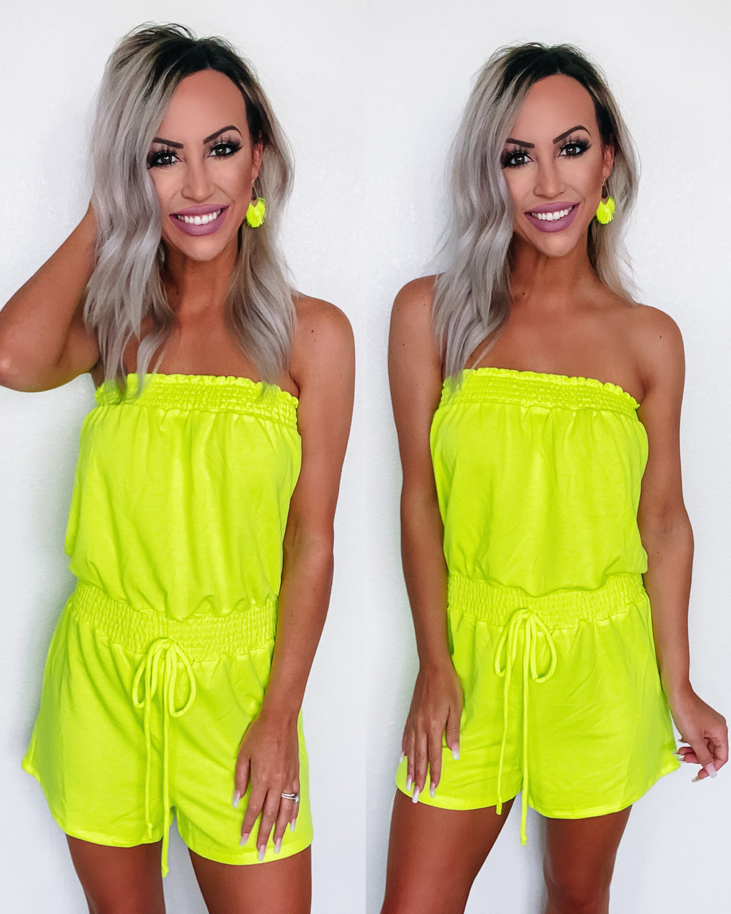 Catching Sun Rays Romper - Neon Lime {BombDeal}