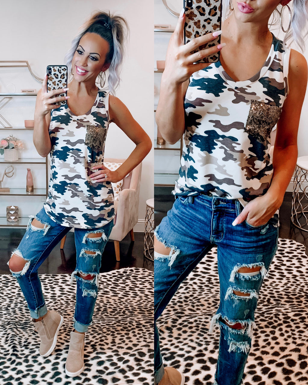 Sporty Spice Camo Sequin Pocket Tank