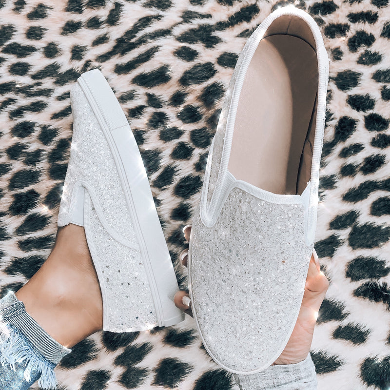 Diamond Luxe Glitter Sneakers - White