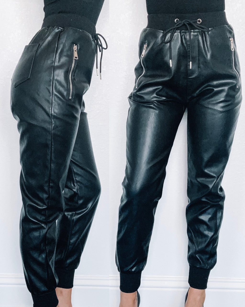 Khloe Leather Jogger Pants