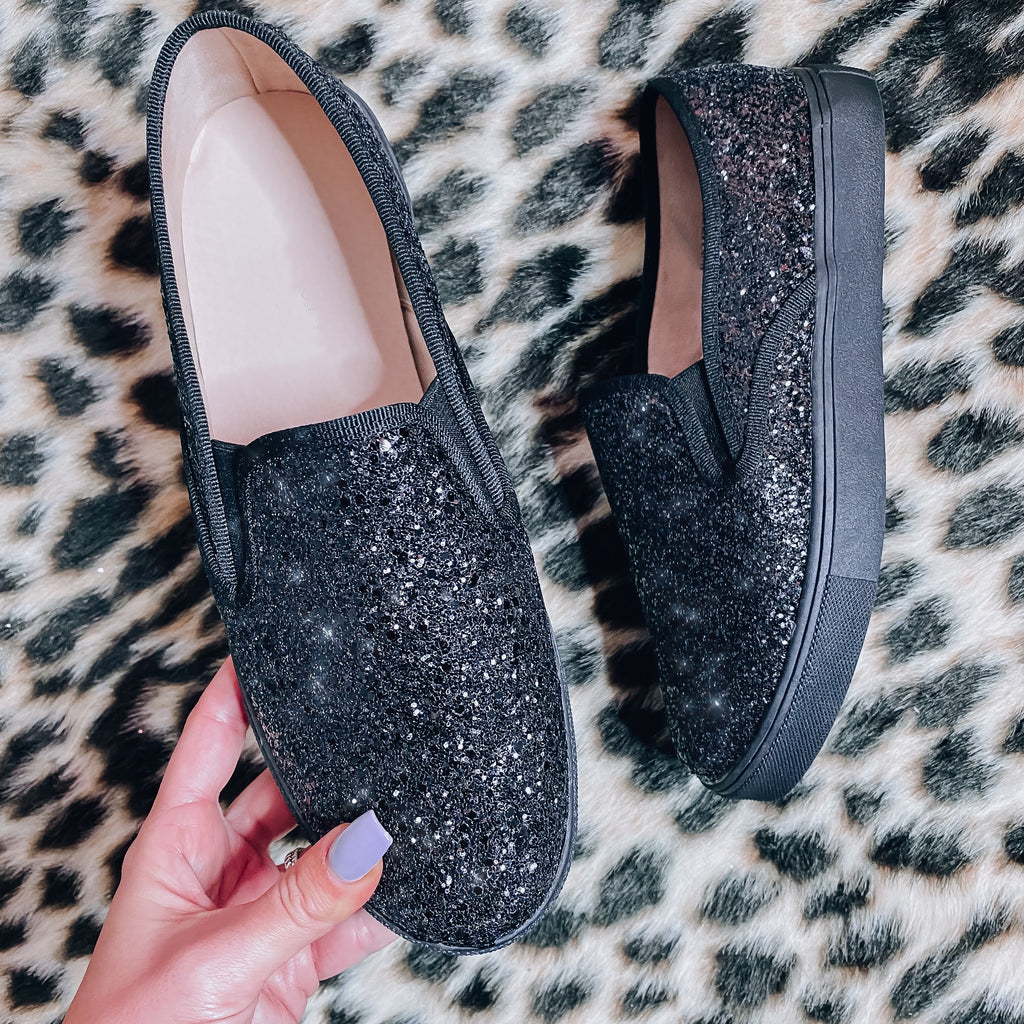 Diamond Luxe Glitter Sneakers - Black