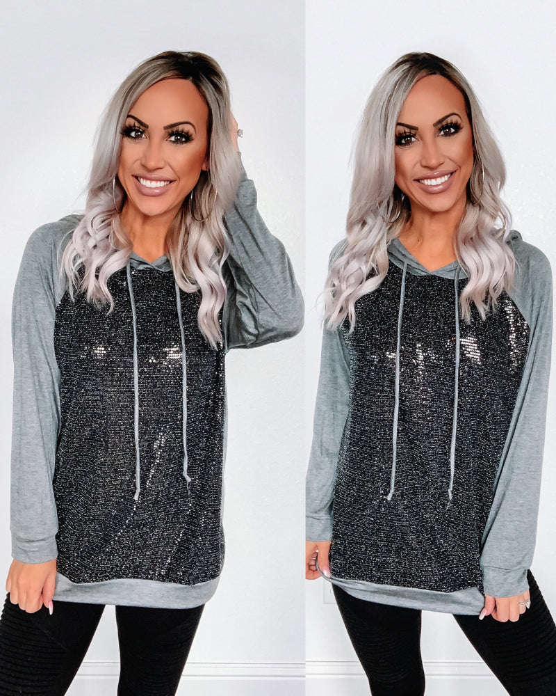 Kiss Me in the Dark Sequin Hoodie