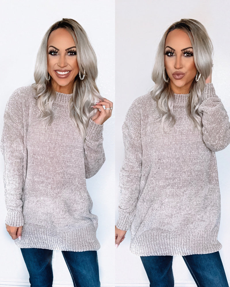 Powder Kissed Chenille Sweater - Ash