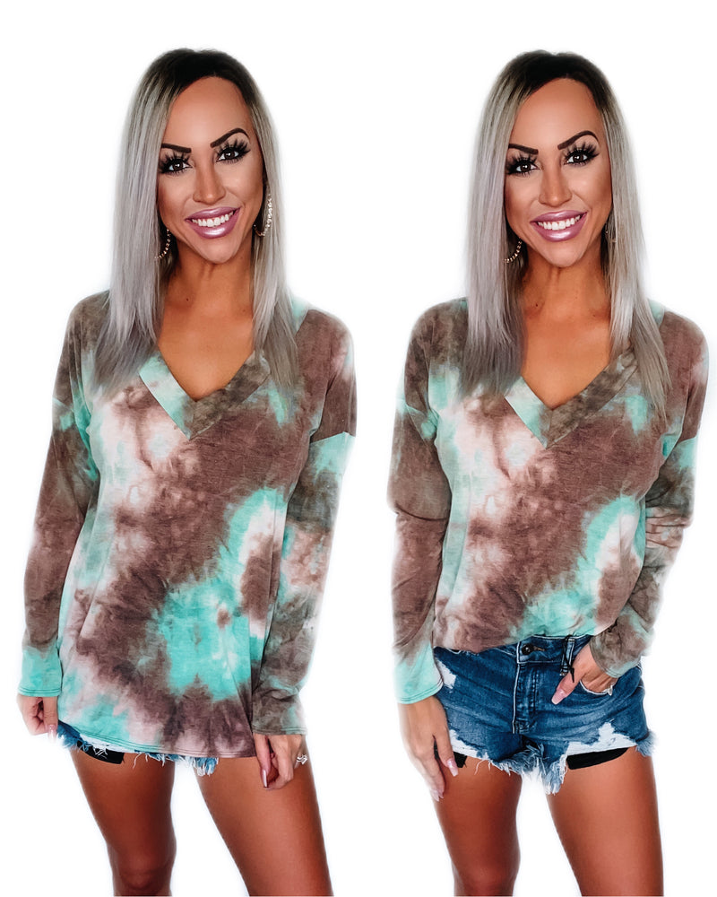 Latest Obsession Tie Dye Top - Mint