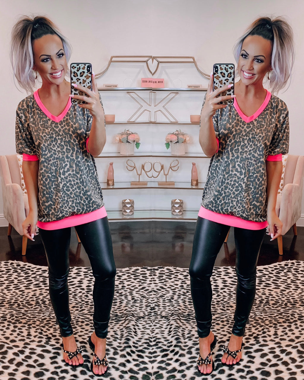 Nuts Over Leopard Top - Neon Pink