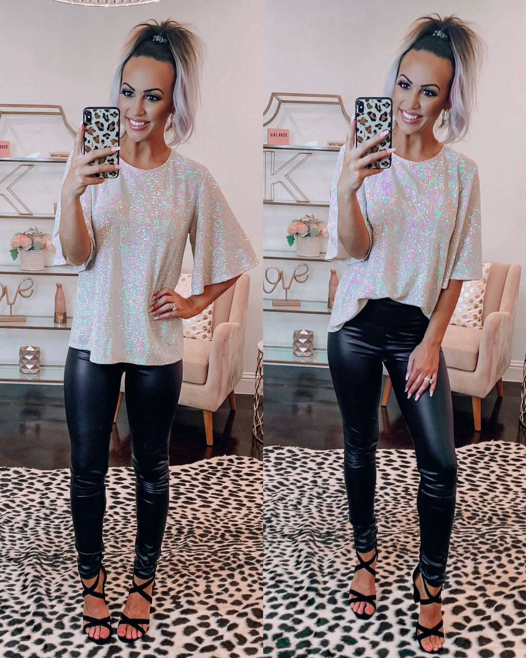Disco Babe Sequin Top - Dusty Pink