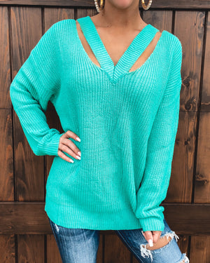 Capture My Love Sweater - Turquoise