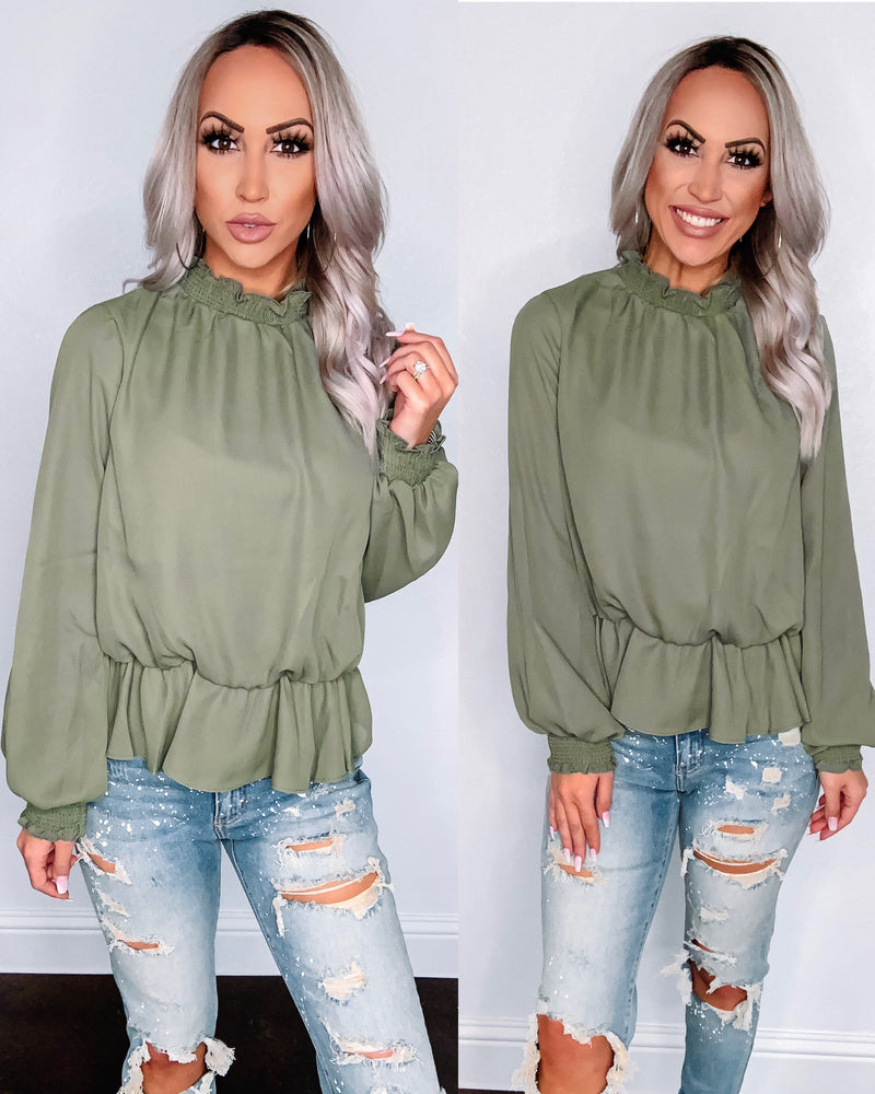 Kendal Mock Neck Blouse - Olive
