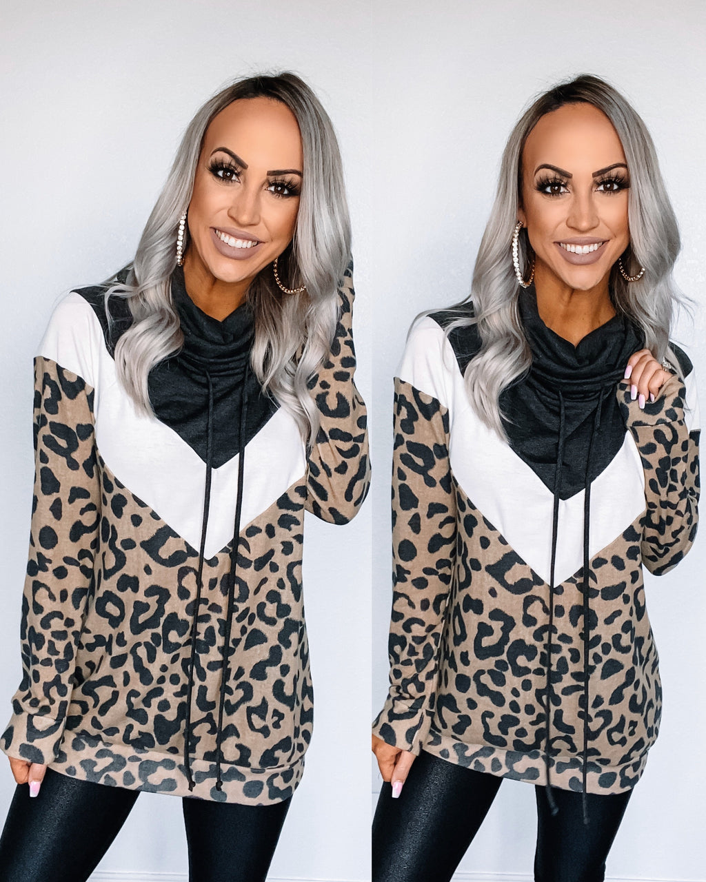 Cross My Heart Leopard Cowl Neck Pullover