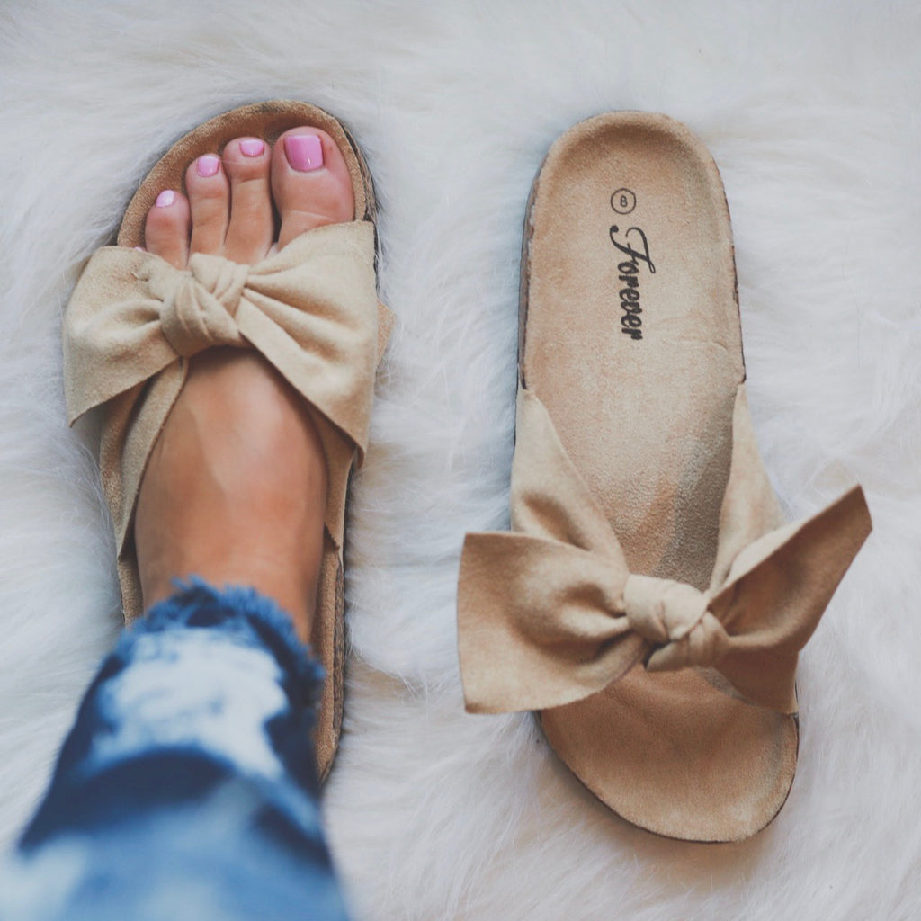 Beige Bow Sandals