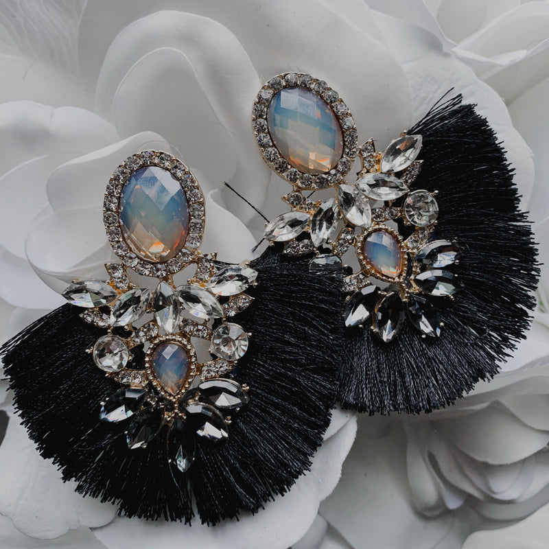 Hope Statement Earrings - Black