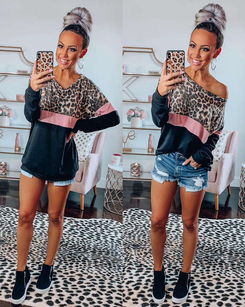 Gonna Get You Leopard Sweatshirt - Black/Pink