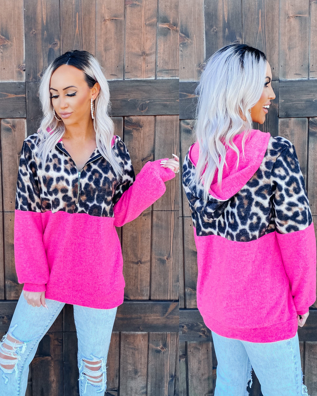 Flirty Feelings Leopard 1/2 Zip Pullover - Hot Pink