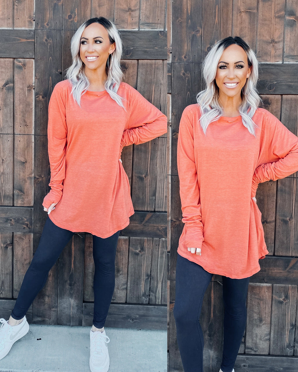 Basic Babe Oversized Tunic - Coral