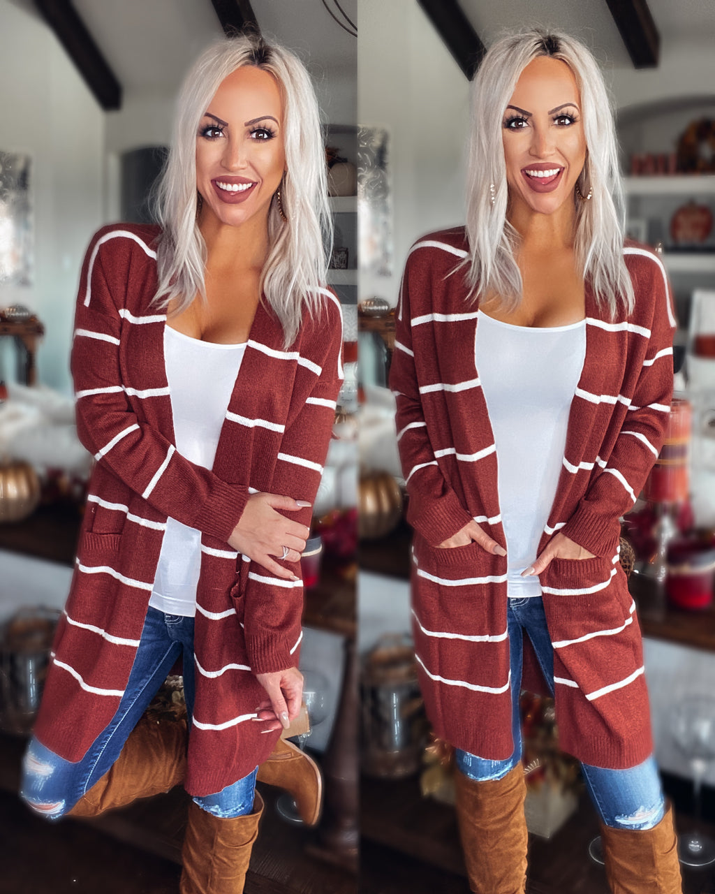 All I've Ever Wanted Stripe Cardigan - Rust