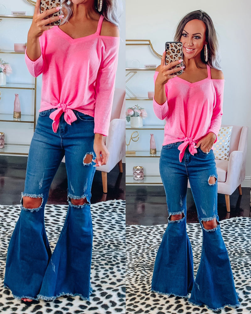 Barbie Pink Open Shoulder Tie Top