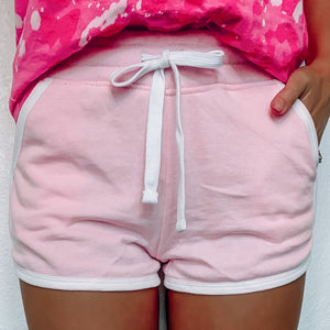 Athletic Terry Cloth Shorts - Bubble Gum Pink