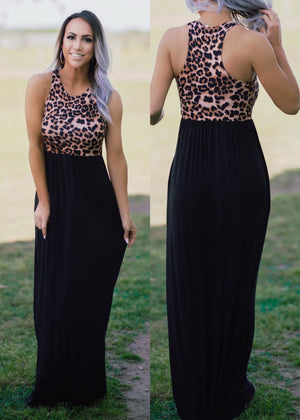 Leopard Racerback Maxi Dress
