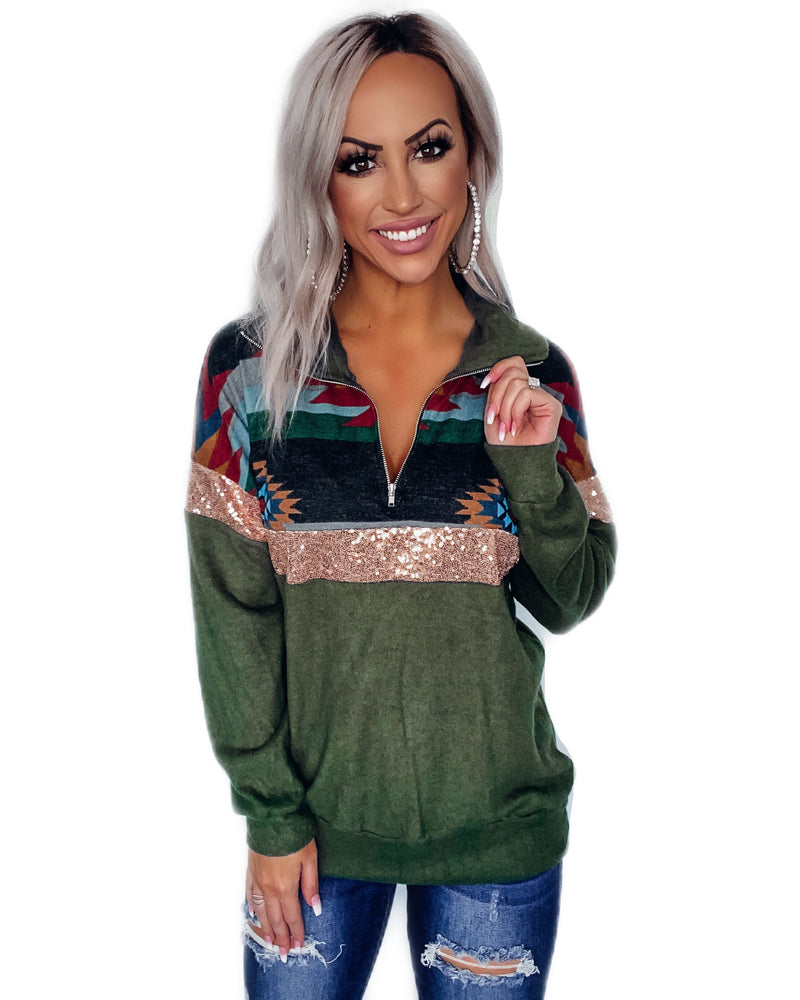 Holiday Aztec Sequin Pullover - Olive